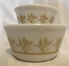 "Vtg Hazel Atlas Golden Wheat White Milk Glass Set Of 2 Mixing Bowls 2.5 3.5"" P1"