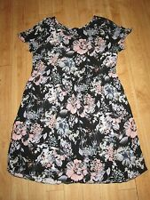 F & F FLORAL SCOOP NECK SHORT VISCOSE, GATHERED SKIRT DRESS, SIZE 10, EX CON