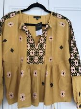 Tooshop Mustard Yellow Embroidered Tassle Top UK 8 Bnwt