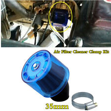 35mm Motorcycle Air Filter Cleaner Clamp Kit w/Blue 45° Bend Splash Proof Cover