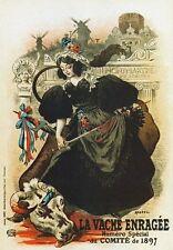 AP134 Vintage 1897 français la vache folle magazine publicité poster carte imprimer A5