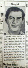 1950 newspaper FBI nation-wide hunt for WILLIE SUTTON Bank robber Gangster w pic