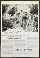 1937 American Express Travel Service PRINT AD Travel DeLuxe Great Illustration