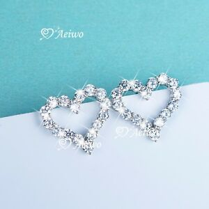 925 sterling silver simulated diamond stud earrings love heart classic