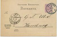 """DT.REICH """"ALTONA / 1"""" K1 klar 5 Pf violett Kab.-GA-Antwortkarte-Frageteil 1898"""