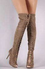 Wild Diva Knee Taupe Tan High Lace Up Stiletto Gladiator Size 9