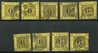 GERMANY STATES BADEN SCOTT# 9 MICHEL# 7 USED LOT OF 9 AS SHOWN