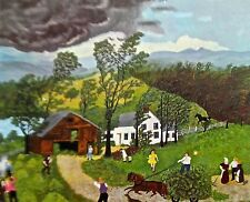 Grandma Moses Poster Reprint of Thunderstorm 20X14 Offset Lithograph Unsigned