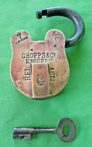 Old Antique Vintage CHOPPS & CO Brass 7 Lever Padlock No 666 PT and Key