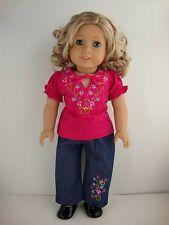 2 piece Set Jeans & Hot Pink Short Sleeve Shirt - Floral, for 18 Inch Dolls
