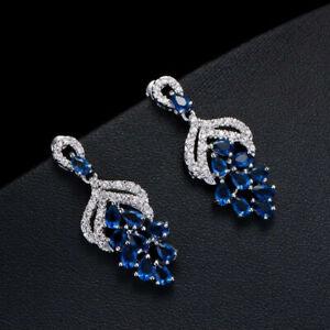 Fancy Chandelier Engagement Wedding Earrings 14K White Gold 4.59 Ct Sapphire