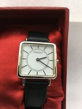 Fontenay of France Women's Square Case Leather Strap Watch