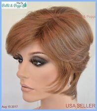 Monopart  Short layered wispy sides & back Wig Color Honey Red USA Seller