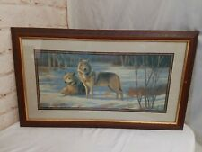 "Home Interiors Artwork Matted Framed Print Wolf Wolves In Snow 31"" x 18"""