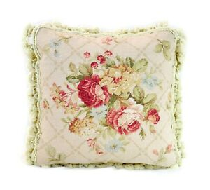 Needlepoint Pillow | Bouquet of Roses Cushion Cover Pillowcase 16x16 Handmade
