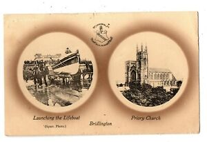 """MULTI-VIEW ,LIFEBOAT LAUNCH , PRIORY CHURCH - BRIDLINGTON - POSTED - """" FR01 """""""