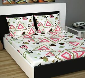 Cotton Geometric Print Double Bedsheet with 2 Pillow Cover Pink