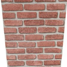 Urban Red Brick Wallpaper Feature Rustic 3D Effect Realistic Grey Grout Textured