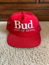 Vintage Bud King Of Beers Snapback Trucker Hat Advertising Mesh
