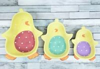 Spring Easter Decor 3 Piece Chicks Bowls Yellow Ceramic BLOSSOMS & BLOOMS