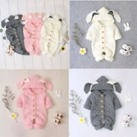 Newborn Baby Boys Girls Romper Rabbit Ears Clothes Jumpsuit Long Sleeves Hooded