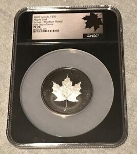 2020 CANADA $50 MAPLE LEAF INCUSE - RHODIUM PLATED 3 Oz  NGC PF70 FDOI