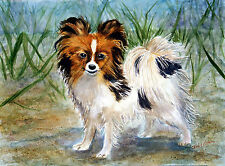 Papilion puppy dog painting reproduction print 8x10 on cardstock of original