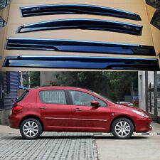 For Peugeot 307 Black Tinted Chrome Trim Window Visor Vent Shade Sun Guard