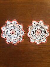 Vintage Coloured Hand Crocheted Cotton Centrepiece Crochet Doily Set