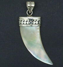 Designer MOTHER OF PEARL HORN Pendant Handcrafted in 925 Silver (New)