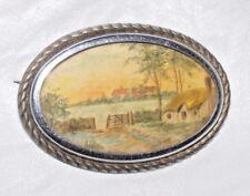 Cuadro Pintado a Mano Vintage Broche Original Pintura Miniatura Tamaño Grande
