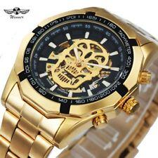 T-WINNER New Fashion Mechanical Watch Men Skull Design Top Brand Luxury Golden
