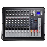 LCD Display 8 Channel Powered Mixer 16 DSP Stage Studio Recording Family Party