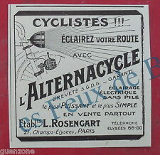 Publicité ALTERNACYCLE CYCLISME, antique advert 1924 original bicycle flashlight