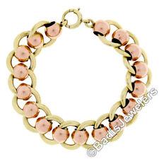 "Retro Vintage 14k Rose Green Gold Wide Ball & Flat Cable Link 6"" Chain Bracelet"