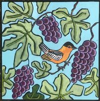 Original Painting Bird In Grape Tree, Leaves,decorative,Naive/folk Art