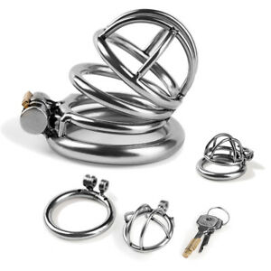 Super Small Short Cage Ring Lockable Stainless Steel Male Chastity Device