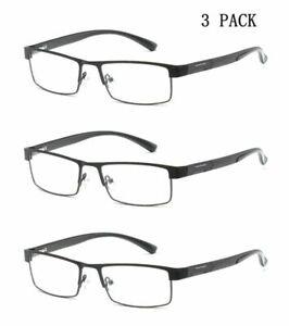 3 Pack Designer Reading Glasses Spring Hinges  Metal +1.5 2.0 2.5 3.0 3.5 4.0