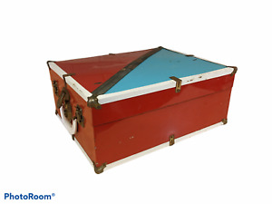 Vintage Roller Skate Carrying Case Metal Latch Box Red White Blue