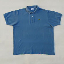 Lacoste Vintage Short Sleeved Polo Top Cotton Auth 80s Sky Blue 6 XL