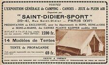 Y8834 Tente de Propagande Saint Didier Sport - Pubblicità d'epoca - 1936 Old ad