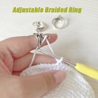 Adjustable Ring Knitting Kit Finger Guides Needle Crochet Loop Thimble Acc