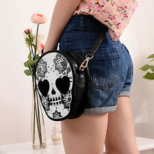 Women Skull Flower Handbag Faux Leather Messenger Cross Body Shoulder Bag Purse