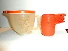 Vintage Tupperware Mix-n-Store  Measuring Bowl & 6-pc Harvest Burnt Orange Cup s