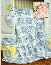 SOFT BOOTIE-FULL Baby Afghan & Matching Booties/Crochet Pattern Instructions