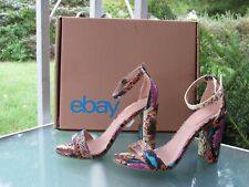 REPORT  Multicolored Snake Print Ankle Strap Chunky High Block Heels Sandals 7.5