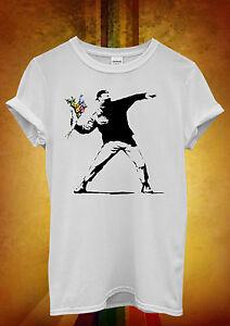Banksy Flower Thrower Hipster Men Women Unisex T Shirt Tank Top Vest 456