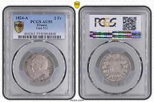 M5493 Rare 2 Francs Louis XVIII 1824 A Paris PCGS AU55 Argent Silver