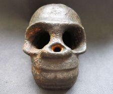 Chinese Hongshan Cultural Old jade carved skull man people head statue 958g