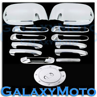 Chrome Mirror+4 Door Handle W/O PSG Keyho+Tailgate+Gas Cover for 02-08 Dodge Ram